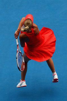 absolutely love the color. Tennis Humor, Tennis Funny, Rod Laver Arena, Caroline Wozniacki, Australian Open, Maria Sharapova, Ladies Day, Tennis Racket, Poses