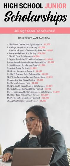 There are lots of scholarships that juniors in high school are eligible to apply for. Securing money for college early High School Hacks, Life Hacks For School, School Study Tips, School Ideas, High School Scholarships, Highschool Freshman, Freshman Year, Freshman Tips, Online College