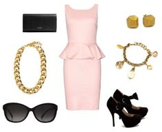 Outfit Ideas - What to Wear with a pale pink peplum dress. Paired with a chunky gold chain, vintage charm bracelet and studs.