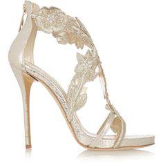 Oscar de la Renta Tatum embellished metallic cracked-leather sandals ($1,350) ❤ liked on Polyvore