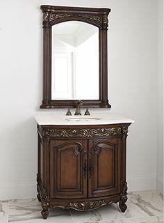 """36"""" Provincial Petite Sink Chest Dark Bathroom Vanity 06227-110-126 #Ambella #HomeRemodel #BathroomRemodel #BlondyBathHome #BathroomVanity"""