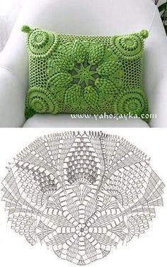 Letras e Artes da Lalá: crochet pillow Crochet Doily Diagram, Crochet Doily Patterns, Filet Crochet, Crochet Motif, Crochet Doilies, Cushion Cover Pattern, Crochet Cushion Cover, Crochet Cushions, Cushion Covers