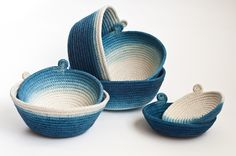 I was lucky enough to collaborate with local shibori artist Vic Pemberton on a collection of hand dyed indigo cotton rope vessels.  Vic transformed 14 of my cotton rope vessels into the deep rich indigo colour. I've known Vic for a while now and I have seen her dying skills leap from strength to strength. She is indeed one to watch closely! Gemma Patford www.gemmapatford.com