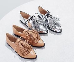 Menswear inspired Oxford loafers with tassels by Loeffler Randall