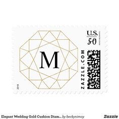 Shop Elegant Wedding Gold Cushion Diamond Monogram Postage created by beckynimoy. Wedding Gold, Elegant Wedding, Custom Postage Stamps, Gold Cushions, Cushion Diamond, Adhesive, Best Gifts, Monogram, Prints