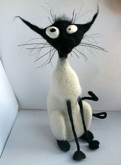 Cute felted cat