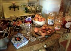 My 1:12 scale canned peaches (large & small) & jar of peach preserves in Kathleen Holmes' darling dollhouse kitchen!