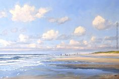 ©Gert-Jan Veenstra: Noordzeestrand met vissers, painting available. Olieverf op doek www. Landscape Photos, Landscape Art, Landscape Paintings, Landscape Photography, Seascape Paintings, Watercolor Paintings, Beach Watercolor, Sky Painting, Dutch Artists