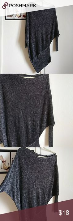 Zara Knit off the shoulder long sleeve dress. Sparkle gray/ silver. Can be worn as sweater over leggings. Very comfortable & sexy. Zara Dresses Asymmetrical