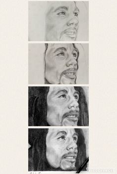 Bob Marley art music pencil black and white drawing singer