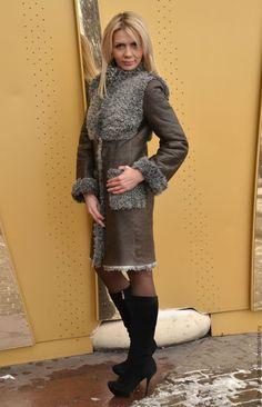 Купить Дубленка из овчины с карманами - коричневый, дубленка, женская дубленка, длинная дубленка, дубленка на пуговицах
