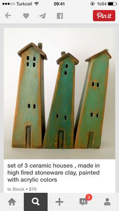 set of 3 ceramic houses , made in high-fired stoneware clay, painted with acrylic colors Stoneware Clay, Ceramic Clay, Ceramic Pottery, Earthenware, Clay Houses, Ceramic Houses, Art Houses, Miniature Houses, Ceramics Projects