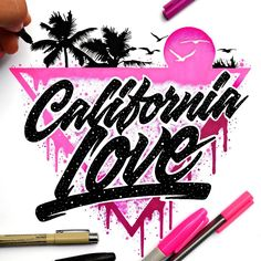 california love  typography illustration with a vintage, retro feel
