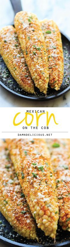 Mexican Corn on the Cob - This is the best way to serve corn, brushed with melted butter and sprinkled with chili powder, cheese and lime juice! A must for #CincoDeMayo