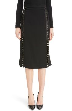 Free shipping and returns on Altuzarra Welkes Grommet Detail Skirt at Nordstrom.com. A satin-trimmed frill at the back adds flippy movement to this sharply tailored pencil skirt embellished with stripes of tiny golden grommets that part to reveal flashes of leg.