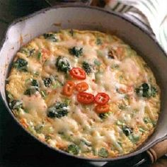 Easy Vegetable Frittata-is a delicious, easy and quick (25) minute recipe which is also generally healthy. It is a low calories, low sosium, low carbohydrates, vegetarian and Weight Watchers (5) PointsPlus per serving recipe. Ingredints include: broccoli, carrots, garlic, green onions and shredded cheese. Serve for breakfast, brunch or supper. Makes 4 servings.