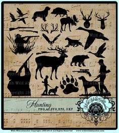 Hunting SVG, Deer Hunt Svg, Buck Head Cutting File, Antler Silhouette, Gun SIlhouette, Duck Cameo Silhouette Design, Cricut Design  Make T
