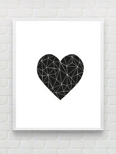Printable Art Heart Print love Print Polygon Wall by Designsbyritz