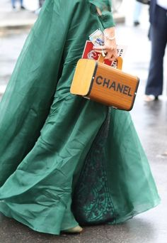 "..and here a faceless ""complex"" comrade wearing her Cinderella dreams in style...adorned in vintage Chanel and cell phone.  Brava Cindy!"