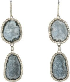 Geode Slice and Diamond Earrings by Kimberly McDonald