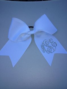 3 White Bow with Silver Glitter Monogram by BigTopBowtique on Etsy