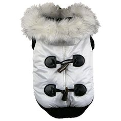 This winter white fashion parka for pets contains thermal heat retention technology specially inserted between the fabric. This pet parka features matching inner fleece fabric. Ribbed sleeves and inne