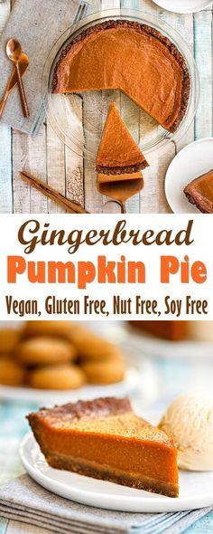 Gingerbread Pumpkin Pie Recipe (Vegan, Gluten-free & Allergy-friendly!):
