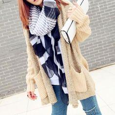 Price:$29.99 Color: Khaki Material: Wool European Style Oversize Leisure Spliced Knit Cardigan Coat