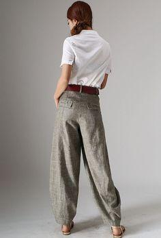 All Seasons Linen Pants Smart Casual Beige Neutral by xiaolizi