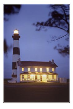 Bodie Light just After Dark - The Bodie Light is located on the Outer Banks of North Carolina.