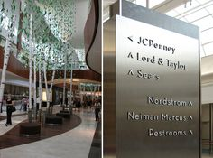 Freestanding directional pylon sign at Natick Collection, USA by RSM Design Environmental Graphic Design, Environmental Graphics, Wayfinding Signage, Signage Design, Tool Design, Design Process, Pylon Sign, Ceiling Installation, Retail Interior
