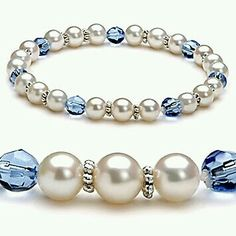 Pearl with blue stone accents
