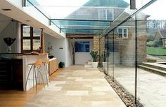 Blend new and old NB if glass extension on one end dramatically increases light, then you can end up with other side of room looking dark - unless you balance out the lighting (i.e through adding glass velux or half height wall or additional lighting) Glass Roof Extension, House Extension Design, House Design, Ideas Terraza, Conservatory Kitchen, Glass Structure, Glass Room, Glass Walls, Perfect Glass