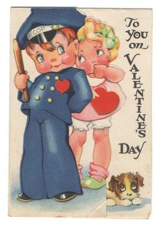 """Vintage Valentines Card Cute Cop  Girl """"Oh Mister Policeman! Its Your Duty 1935   eBay"""