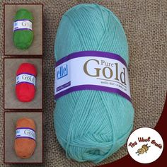 """Newly released Elle's """"Pure Gold DK"""" is a 100% acrylic DK yarn, and is machine washable. Suitable for lightweight sweaters and children's and babies' garments, it is available in a range of colors at The Wool Studio! #elle #yarn #woolstudio"""
