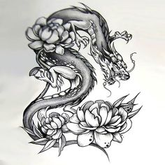 An amazing dotwork tattoo sketch of a Japanese dragon around peony flowers. Great tattoo idea for both men and women. Style: Dotwork. Color: Black. Tags: Best, Amazing, Great