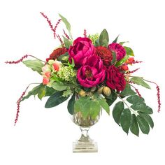 """Invite lush blooms inside with this faux fuchsia peony and green hydrangea arrangement, nestled in a glass urn.  Product: Faux floral arrangementConstruction Material: Polyester, fabric and glassColor: Fuchsia and greenFeatures: Includes faux peoniesDimensions: 19"""" H x 19"""" W x 17"""" D Note: This product is supplied by Natural Decorations, Inc.Cleaning and Care: NDI Newlife recommended"""
