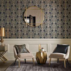 Graham & Brown Art Deco Black and Gold Wallpaper Interior Dorado, Gold Interior, Interior Design, Gold Wallpaper Living Room, Art Deco Wallpaper, Bathroom Wallpaper, Tapete Gold, Muebles Art Deco, Art Deco Bathroom