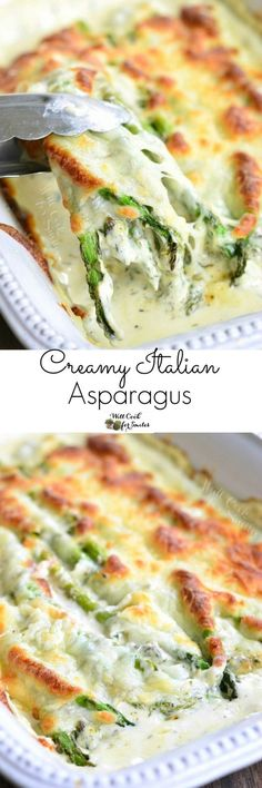 Creamy Italian Asparagus Vegetable Side Dish Recipe via Will Cook for Smiles - It's creamy, it's cheesy, it's full of herbs, it's pure heaven and your dinner is not complete without it!