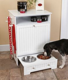 Pet Food Cabinet with Bowls $44.95.  This is awesome!  Keeps all of puppy's stuff in one place; large bag of food goes into the drop-down drawer, and no more digging through the linen closet to find his coat.