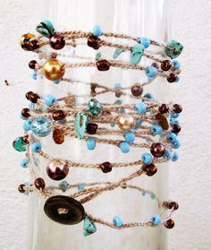 Amalia Turquoise Bead Crochet Necklace by TheSweetAndTheCool, $33.00
