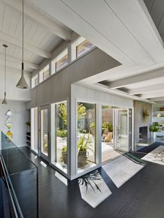 Berkeley Hills, California home remodeled and restored by YamaMar Design - View to internal courtyard