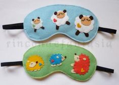 Eyemasks (a necessity if you get migraines) made with felt. Add cute appliqués to make it fun.