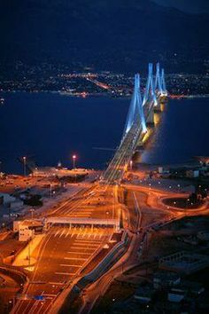 The Rio–Antirio Bridge, Patra (Achaia), Greece Mykonos, Travel Around The World, Around The Worlds, Love Bridge, Suspension Bridge, Greece Travel, Greek Islands, Places To See, Beautiful Places