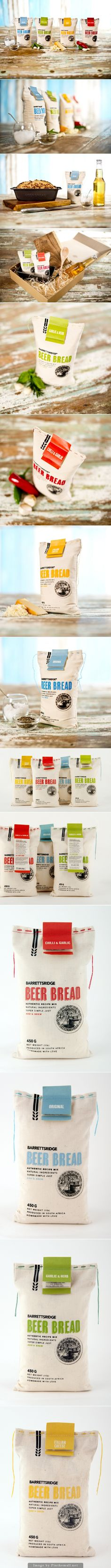 BarrettsRidge Beer Bread // Disseny packaging net i atractiu. Combinació de materials i plegat en l'etiqueta.