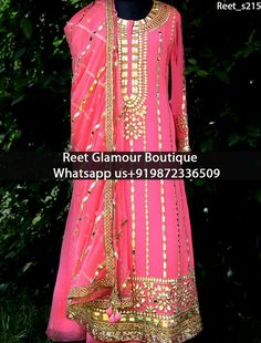 Stunning Pink Embroidered Anarkali Suit Product Code : Reet_s215 Stunning Pink Embroidered Anarkali Suit.Embellished with Embroidery Gota Patti work. Available with matching bottom & dupatta. It will make you noticable in special gathering. You can design this suit in any color combination or in any fabric. Exclusive designs available,only at Reet Glamour Boutique,Jalandhar Contact or whats aap us 9872336509 reetglamour@gmail.com Direct Link : https://www.facebook.com/reetglamourboutique/