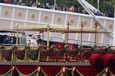 All aboard: The Queen on the royal barge