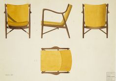 Finn Juhl watercolour rending for model 45 armchair