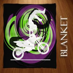 Dirt Bike Blanket in Gray Theme with Black, Green, Purple, Motocross Blankets, and Green Swirls, Boys Blankets, Sports Fleece Blankets  #203 by EloquentInnovations on Etsy