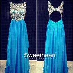 Blue A-line round neckline Chiffon Long Prom Dresses, Formal Dresses